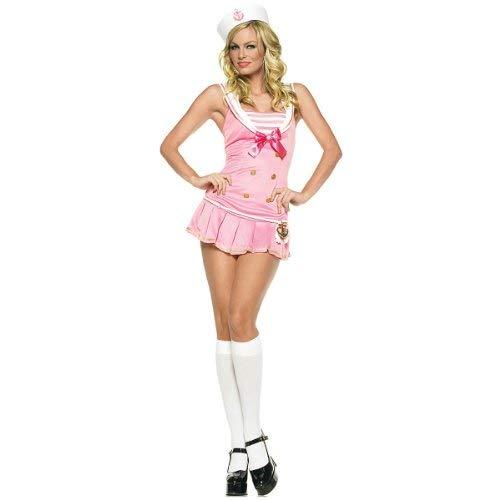 Leg Avenue Women's Shipmate Cutie Costume, Pink/White, Medium/Large