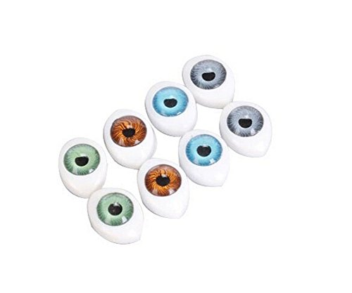 - 8 Pairs(16PCS) Oval Flat Hollow Back Plastic Eyes Puppet Doll Bear Craft Eyes Eyeballs Mask Making DIY Supplies for Porcelain or Reborn Dolls Stuffed Animal Toys Troll Scary Eyes 10mm x 14mm