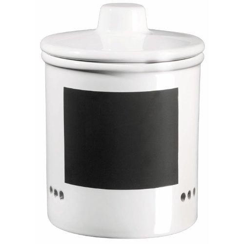 ASA 50719147 Zwiebeltopf Keramik, 14 x 14 x 15 cm, weiß / schwarz