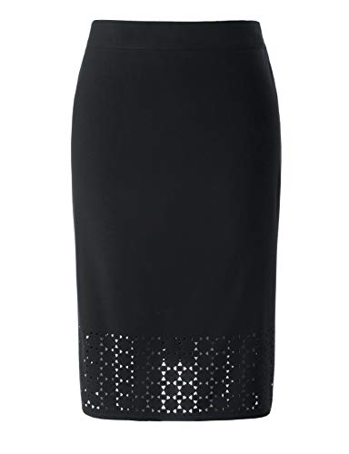 - Chicwe Women's Plus Size Black Texture Stretch Pencil Skirt with Laser-Cut Black 1X