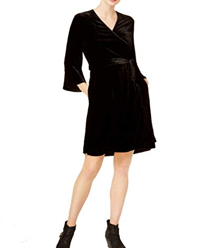 Eileen Fisher Womens Velvet Bell Sleeve Wrap Dress Black XS