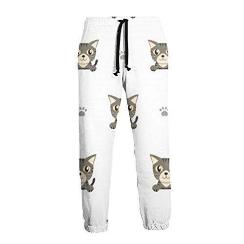 (Grey Tabby Cat Men's Big & Tall Athletic Sweatpant Training Pants Jogger)