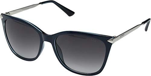 GUESS Women's Gu7483 Cateye Sunglasses, Shiny Blue & Gradient Smoke, 56 (Guess Prescription Sunglasses)