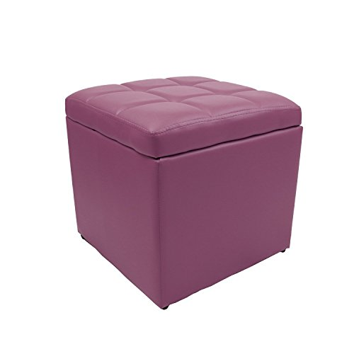 Magshion*Unfold Leather Storage Ottoman Bench Footstools Squ