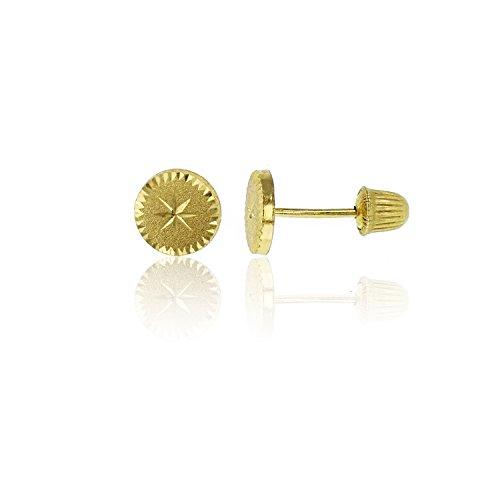 14K Yellow Gold Diamond Cut Circle Hat Screw-back Stud (14k Yellow Gold Circle Earrings)