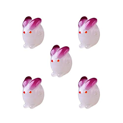 Mystart 5 Pieces Glass Bunny Rabbit Beads Charms for Bracelets Necklaces Jewelry Making