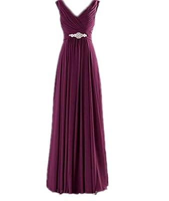 WeiYin Women's Chiffon V-Neck Long Prom Dresses Bridesmaid Dresses