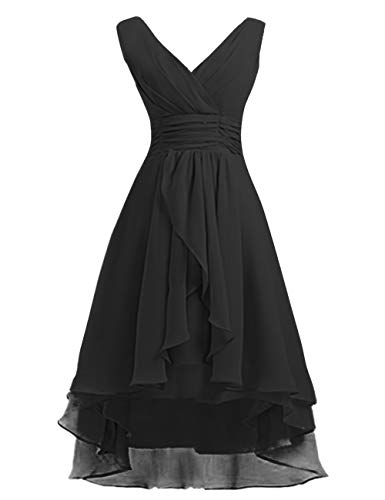(High Low Bridesmaid Dresses Short Chiffon Prom Cocktail Dress V-Neck Wedding Party Gowns Black US6)