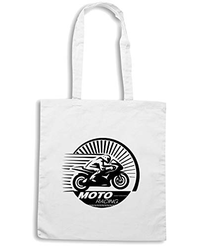 Shopper T Bianca TB0345 RACER IN ENGRAVING STYLE Shirtshock Borsa MOTORCYCLE THE gqRqZE4