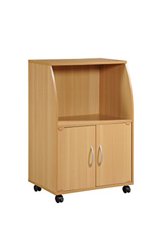Hodedah Mini Microwave Cart with Two Doors and Shelf for Storage, Beech by HODEDAH IMPORT