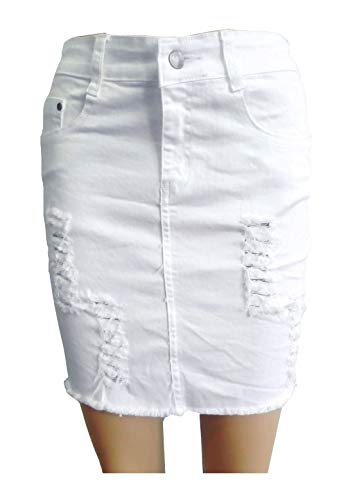 (MA ONLINE Ladies High Waist Ripped Denim Bodycon Skirt Womens Party Wear Faded Jeans Skirt White US 4 )