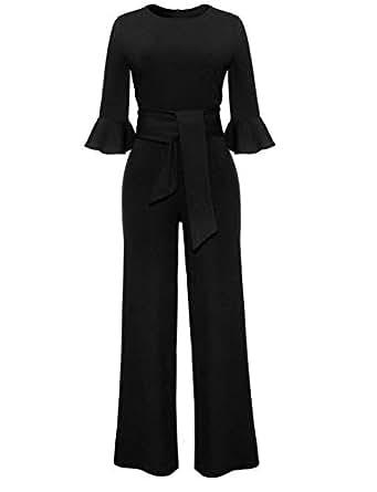 b71e94382a6 Amazon.com  Annystore Women Falbala Sleeve High Waist Long Pants One ...