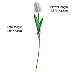"""CountryGrass 24pcs Artificial Tulip Flowers Real Touch PU Tulips Floral Arrangement Yellow White Pink 14"""" for Wedding Home Centerpiece Decoration Hotel Party Decoration (White) 5"""