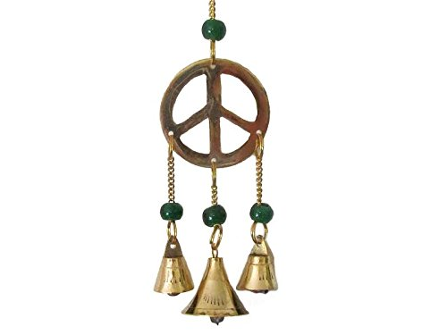 Brass Peace Sign - Wind Chime with Glass Beads and Brass Bells, Peace Sign, 9