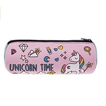 Homgomco Caso di matita di conservazione cosmetica della borsa delle ragazze di rosa di caso di matita di Unicorn di stampa 3D (Unicorno rosa)