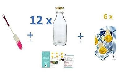Botellas de cristal (12unidades, cuello ancho 1,0l/Jugo botellas