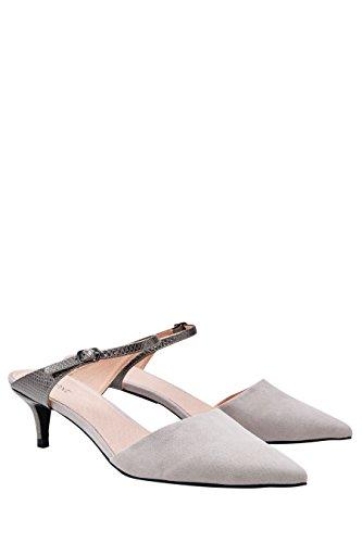 next Mujer Mules Tacón Bajo Corte Regular Zapatillas Calzado Gris
