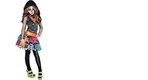 Monster High Skelita Calaveras Wig Dress Tights Child Small 4-6 Costume -