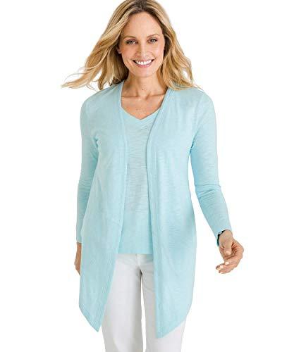 Chico's Women's Cotton Slub Cardigan Size 0/2 XS (00) Blue