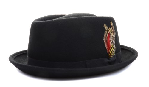 Black Blanded Fashion Wool Derby Hat with Feather Unisex - L -