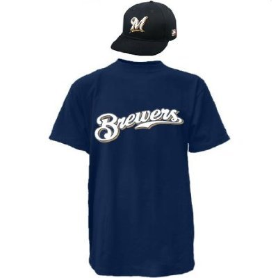 Milwaukee Brewers CAP & YOUTH MEDIUM JERSEY MLB Licensed Replica Combo Set