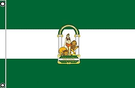 DURABOL Bandera de Andalucía andaluz flag 90x150cm SATIN 2 anillas metálicas fijadas en el dobladillo: Amazon.es: Hogar
