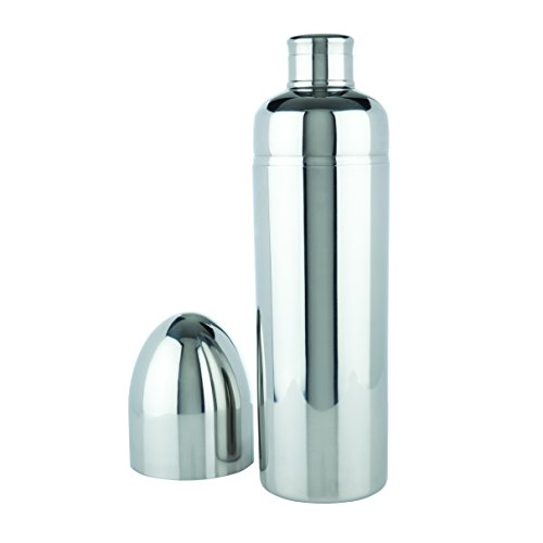 Viski Stainless Steel Bullet Shaped Cocktail Drink Shaker, Made of Rust Proof Stainless Steel, Includes Shaker, Strainer and Cap
