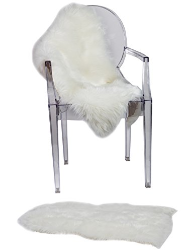 super soft sheepskin chair cover seat cushion pad– excellent quality faux fur rug – modern, stylish design – used as an area rug or across your armchair – back lining suede fabric 2ft x 3ft