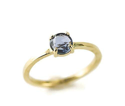 - 14k Gold Rose Cut Sapphire Engagement Ring