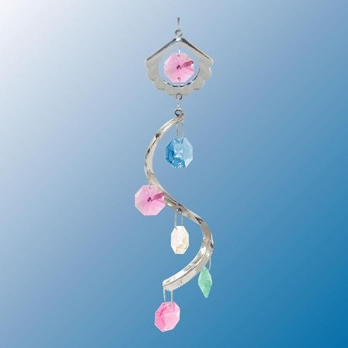 (Sea Shell Swirl ... Hanging Sun Catcher or Ornament..... With Ass'ted Color Swarovski Austrian Crystals)