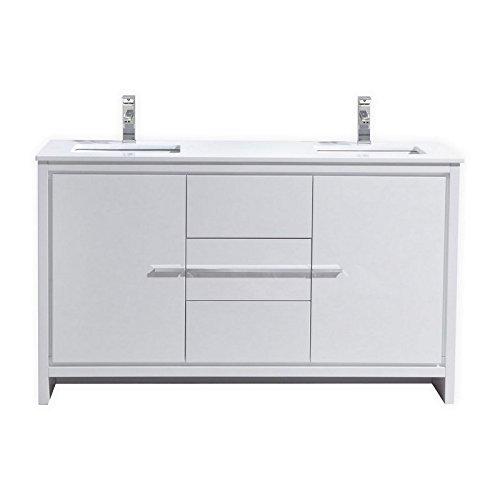 KubeBath Dolce 60″ Double Sink High Gloss White Modern Bathroom Vanity with White Quartz Counter-Top (Best Sink For Quartz Countertop)