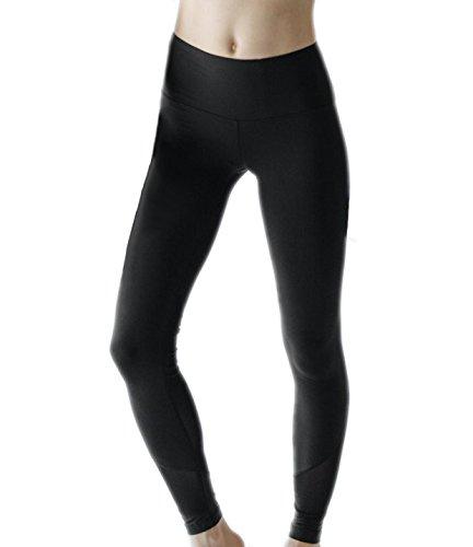 VFUN Black Yoga Pants Tummy Control Workout Pants Mesh Sports Leggings S XL