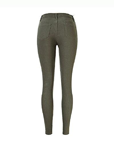 Casual Skinny Elástico EU34 Agujeros Cintura Ejército Mujer Rasgados Verde Alta Jeans Casual Del Pantalones Vaqueros xwXgI6Yq6F
