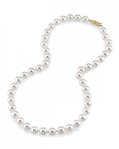 THE PEARL SOURCE 18K Gold 7.0-7.5mm AAA Quality Round Genuine White Japanese Akoya Saltwater Cultured Pearl Necklace in 17