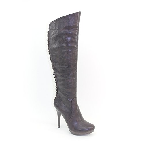 New Brieten Womens Chain Platform High Heel Knee High Brown Boots