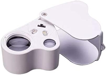 Jewelry Magnifier Slide Out LED lluminated Pocket Scientific Document Jeweler Loupe Magnify Tool with 30X and 60X Glass Magnifying Lens Eye Scope