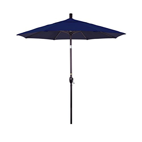 California Umbrella 7.5' Round Aluminum Market Umbrella, Crank Lift, Push Button Tilt, Bronze Pole, Sunbrella Navy 7.5' Crank