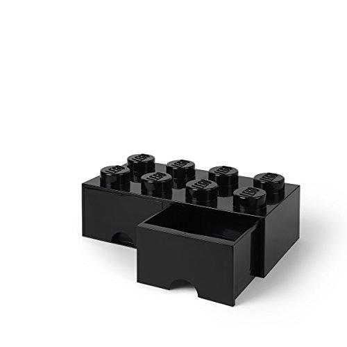 - LEGO Brick Drawer, 8 Knobs, 2 Drawers, Stackable Storage Box, Black