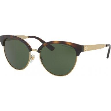 Michael Kors Womens Amalfi 0MK2057 56mm Dark Tortoise/Green Solid One - Website Cateye