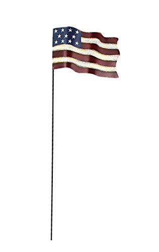 (Metal Rustic Flagpole Pick with American Flag-Flying Flag)