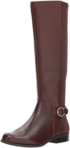 Nine West Women's COMINBACK Knee High Boot Brown Leather, 7 M US