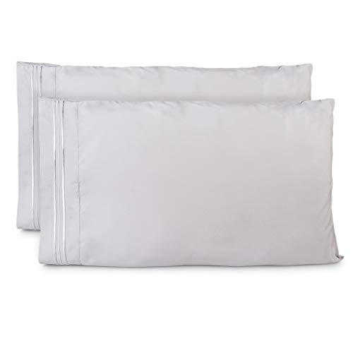 Cosy House Collection Pillowcases King Size - Silver Luxury Pillow Case Set of 2 - Premium Super Soft Hotel Quality Pillow Protector Cover - Cool & Wrinkle Free - Hypoallergenic ()