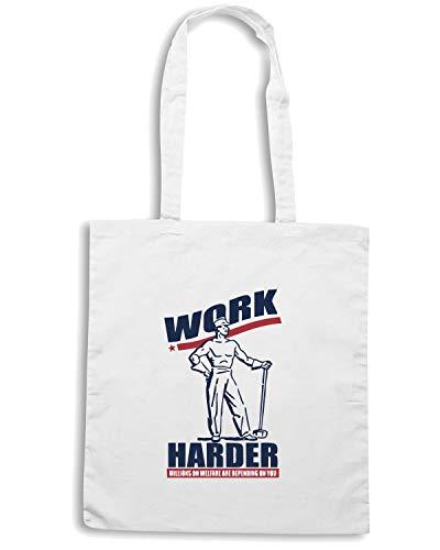 Speed Borsa WORK HARDER Shopper Bianca FUNNY Shirt BEER0058 r61rw5Uq