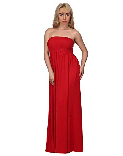 HDE Women's Strapless Maxi Dress Plus Size Tube Top Long Skirt Sundress Cover Up (Red, 2X) (Long Plus Size Red Dress)