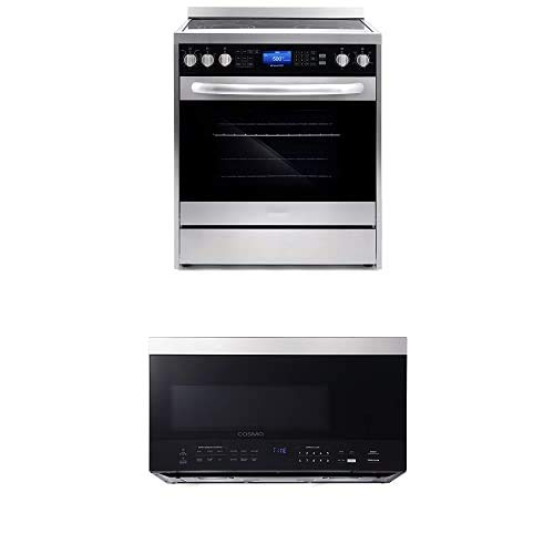 Cosmo Appliance Package 30″ COS-305AERC Electric Range and COS-3016ORM1SS Microwave