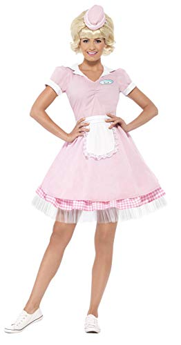 Smiffys Women's 50's Diner Girl Costume, Dress and Mini Hat, Rockin' 50's, Serious Fun, Size 14-16, -