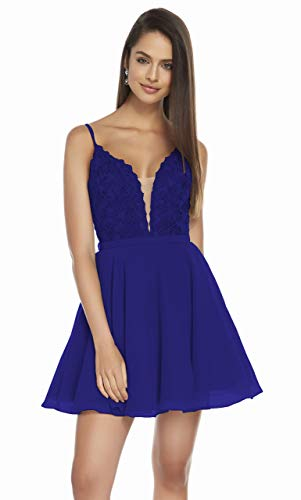 Nicefashion Women's V-Neck Chiffon Lace Bodice Homecoming Dress Short A-Line Beading Sleeveless Prom Gown Size 2 Royal Blue