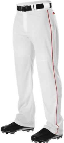 Alleson Adult Pro Warp-Knit Baseball Pants - Full Relaxed Fit With Piping - White/Scarlet - (Scarlet Baseball Pants)
