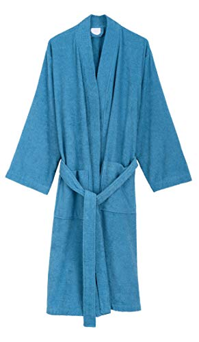 TowelSelections Men's Robe, Turkish Cotton Terry Kimono Bathrobe Large/X-Large Niagara Blue ()