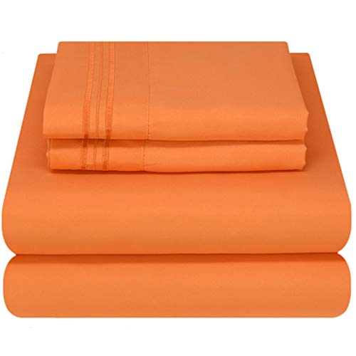 Mezzati Luxury Bed Sheet Set - Soft and Comfortable 1800 Prestige Collection - Brushed Microfiber Bedding (Persimmon Orange, Queen Size) (Set Orange Bedroom)